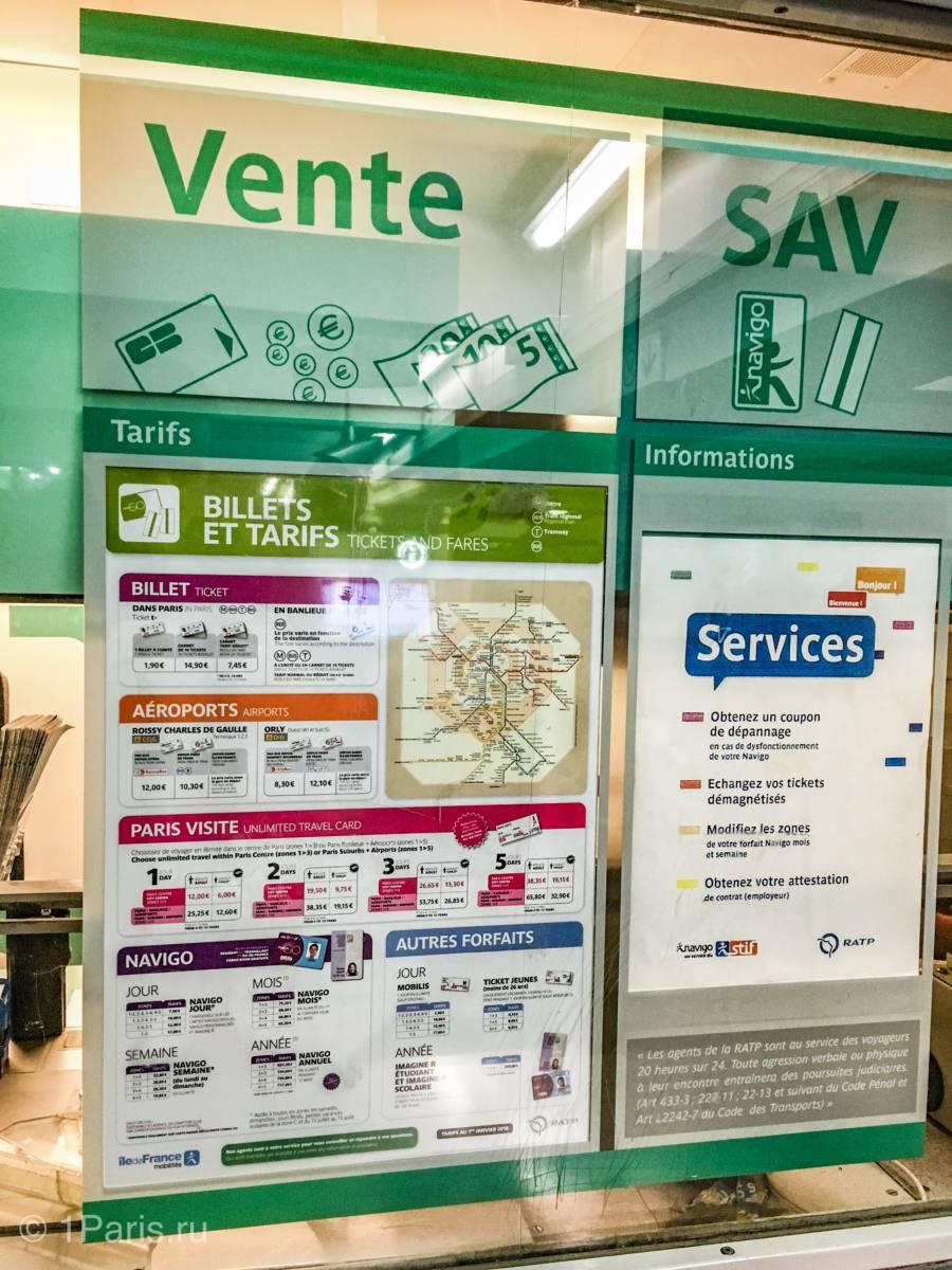 Стоимость общественного транспорта в Париже