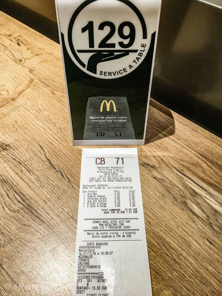 Чек в парижском Макдональдсе