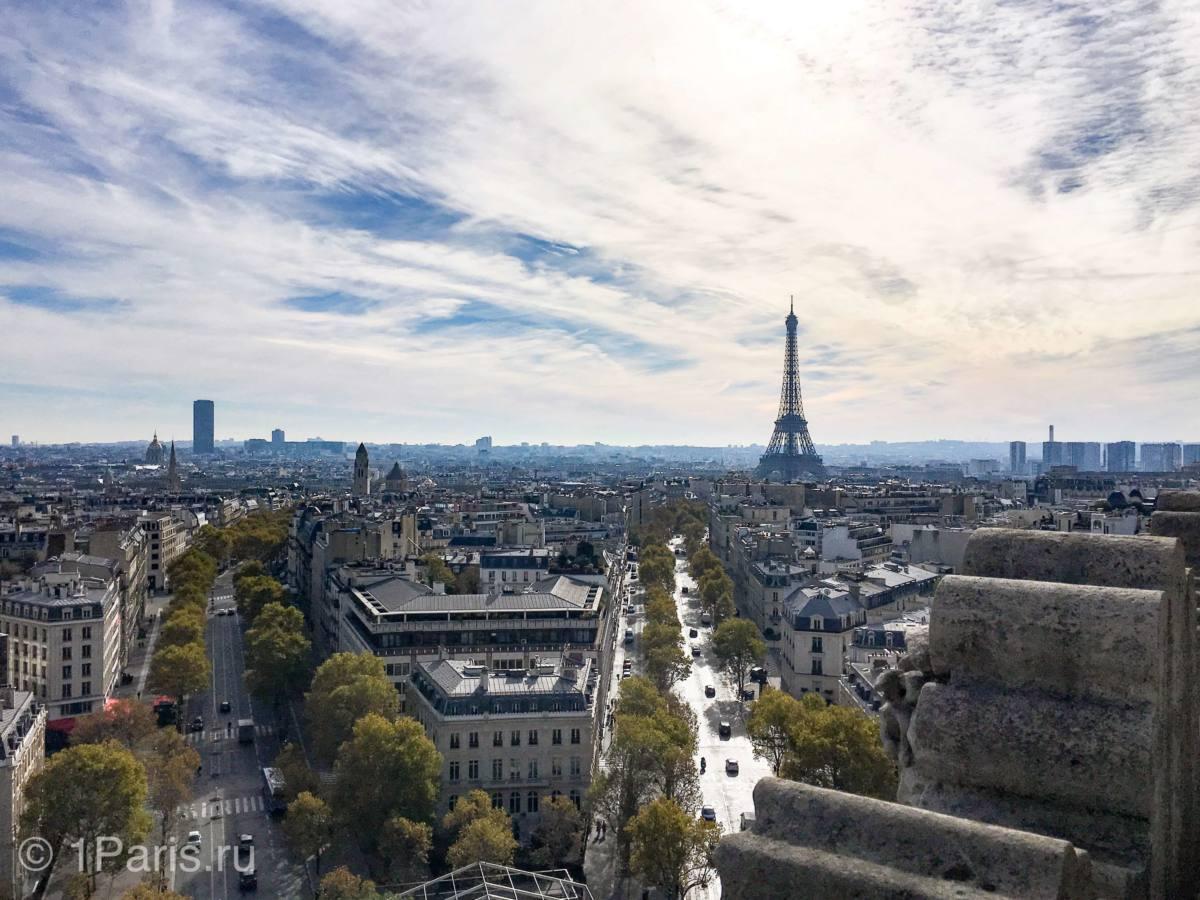 Вид на Эйфелеву башню с Триумфальной арки