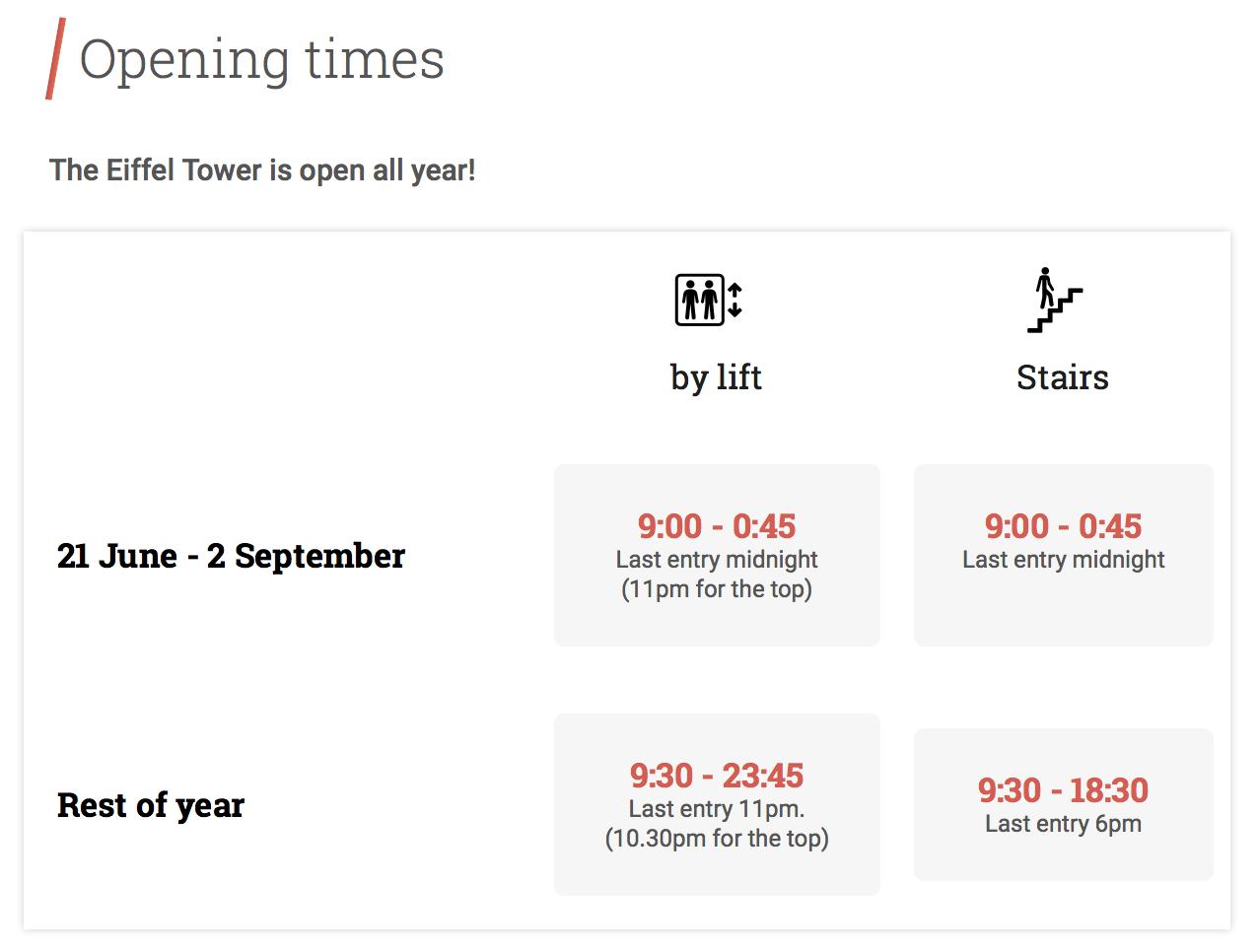 Время работы Эйфелевой башни